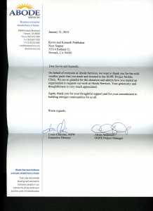 Letter of appreciation from ABODE - January 31, 2013