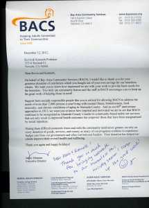 Letter of appreciation from BACS - December 12,2012