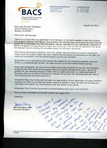 Letter of appreciation from BACS - August 18,2014