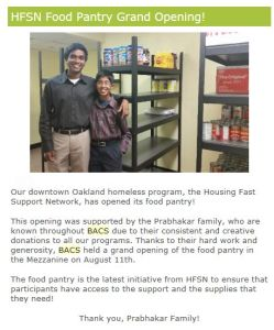 BACS - Pantry opening with items donated from Next Supper