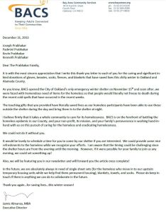 Letter of Appreciation from BACS
